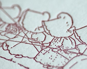 Sue Goes Fishing - Sunbonnet Babies Letterpress Notecard