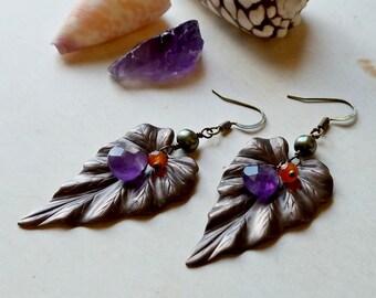 Brass Leaf Gemstone Earrings, Autumn Leaf Dangle, Amethyst Brass Dangle Earrings:  Ready Made