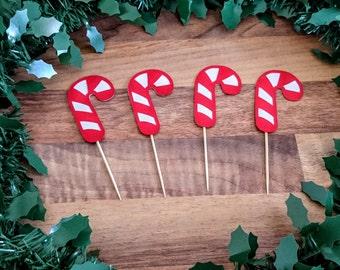 Christmas Cupcake topper, Christmas Cupcake,Cupcake topper, Candy Cane Cupcake topper, Traditional Christmas topper, Christmas decoration