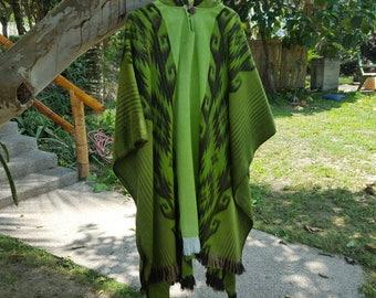 Alpaca Poncho Hooded Closed Green w/stripes, Made in Ecuador
