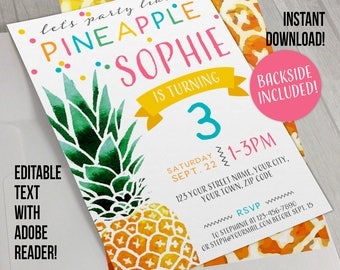 Pineapple Party Invitation with FREE Backside!- INSTANT DOWNLOAD - Party Like a Pineapple Invitation - Pineapple Birthday