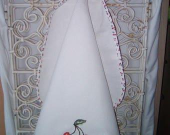 """Cherries"" was embroidered Tea towel hook handmade"