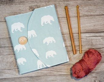 Crochet Hook Case Clutch, Polar Bear Print, Gift for Crochet lover, Craft bag, knitting needle case, Crochet Hook Holder, ready to ship