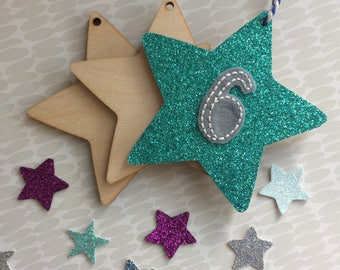 Birthday number star- small wooden star, birch wood and glitter fabric, birthday gift tag, present tag,