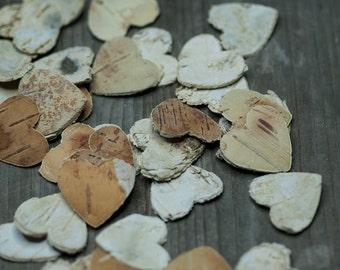 Wooden Heart, Rustic Heart, Birch Bark Heart, Wedding Heart Decoration, Heart Confetti, Rustic Wedding, Natural Bark Heart, Birch Heart