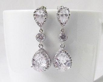 Silver Crystal Wedding Earrings, Wedding Jewelry, Bridal Drop Earrings, Vintage Bridal Earring, Bridal Jewelry, CZ earrings,