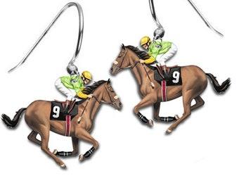 Jockey Horse Racing Earrings Kentucky Derby Belmont Stakes Churchill Downs Trifecta Equestrian Charm Hoop Earrings