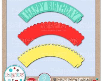 Cupcake Wrappers 1 Cutting Files & Clip Art - Instant Download