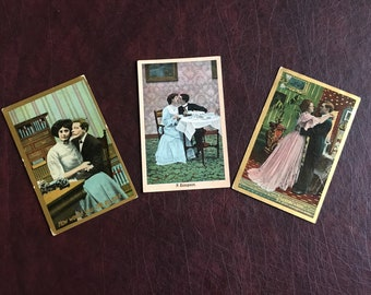 3 Romantic Vintage Postcards 1900s