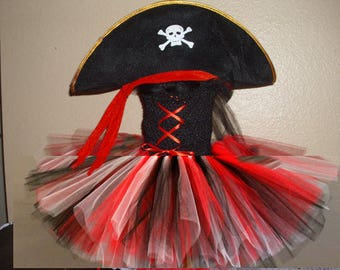 Birthday Pirate Girl Costume Flower Girl Tutu Dress with Hat or skull cap