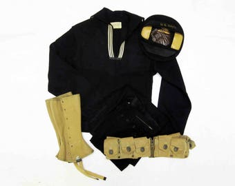 Vintage WWII U.S. Navy Wool Jumper with Pants, Duck Cap, Leggings, and Ammo Belt. Circa 1940's.