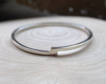 Offset Square Solid Silver Bangle