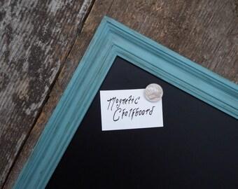 GRAND tableau magnétique 35 x 23 en. Cadre de Style Vintage bleu - en détresse grand tableau magnétique - tableau noir bleu
