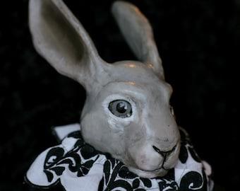 OOAK fine art doll: Rex Rabbit w/Embroidered Collar in Black & White