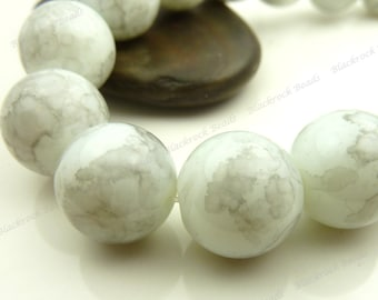Dove Gray and White Round Glass Beads - 12mm Smooth Mottled Beads, Shiny Colorful Bohemian Beads - 17pcs - BL29