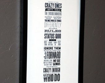 Steve Jobs Crazy Ones Quote Poster Print Framed