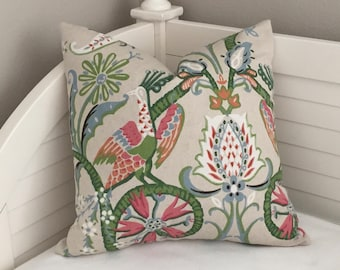 Thibaut Peacock Garden in Coral, Pink and Green Designer Pillow Cover- Square and Euro Sizes