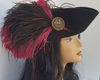 Black and magenta/maroon pirate, Steampunk, Victorian, Gothic, Marie Antoinette, baroque,  tricorn hat