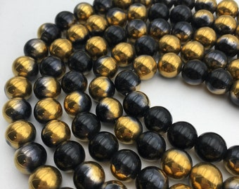"""Coated Opalite Black & Gold Smooth Round Loose Beads Size 8mm/10mm/12mm Approx 15.5"""" Long per Strand"""