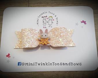 Woodland animal rabbit glitter bow