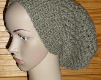 Crochet handmade wide khaki Hat
