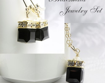 Black Onyx Swarovski Crystal Jewelry Set, Gold Filled, Cube Necklace and Earrings, Bridesmaid Gift, Autumn Wedding Favor, Handmade Christmas