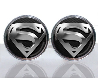 Classic Man of Steel Round Glass Tile Cuff Links
