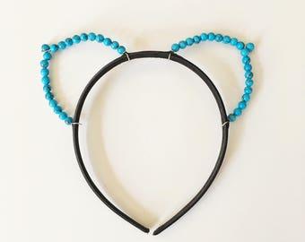 Turquoise Pearl Cat Ears Headband, Blue Cat Ears, Bachelorette, Valentine's Day
