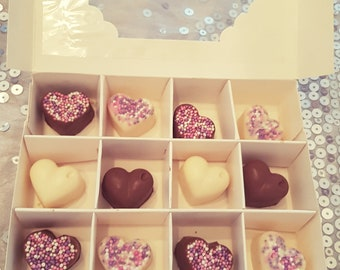Handcrafted chocolate heart box