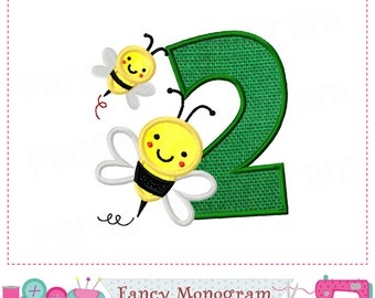 Bumble bee Number 2 applique,Birthday Number 2 applique,Easter,2,Number 2 applique,Bumble bee,2,Spring  design, Embroidery machine-01