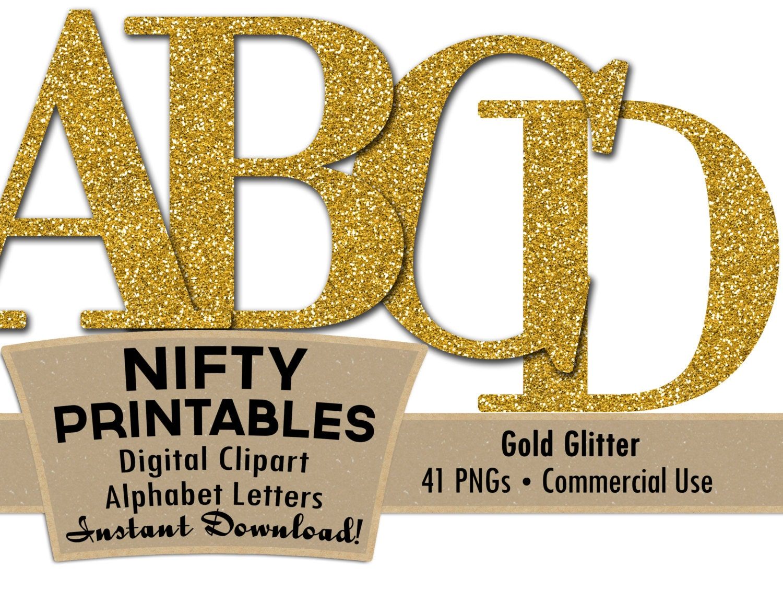Gold Glitter Alphabet Letters Set Elegant Glitter Digital