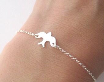 Bracelet pattern Dove bird in Silver 925/1000