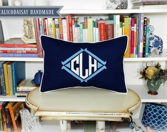 The Regatta Applique Monogram Pillow Cover or Sham - Choice of Size and Colors