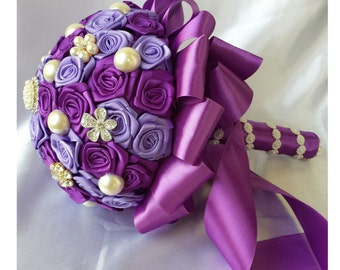 Purple Bridal Bouquet  Purple Wedding Bouquet Purple Rhinestone Bouquet Purple Pearl Bouquet Party Wedding Decoration Purple Bride Bouquet