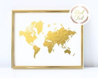 World Map Gold Foiled Print Gold Wall Decor Office Art Cubicle Decoration Gallery Wall Art Modern Minimalist Gold Art Gold Map Print