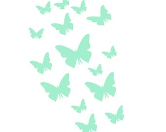 Wall Decal Butterfly theme perfect to add a cute touch in a nursery SALE 14 pieces minty color
