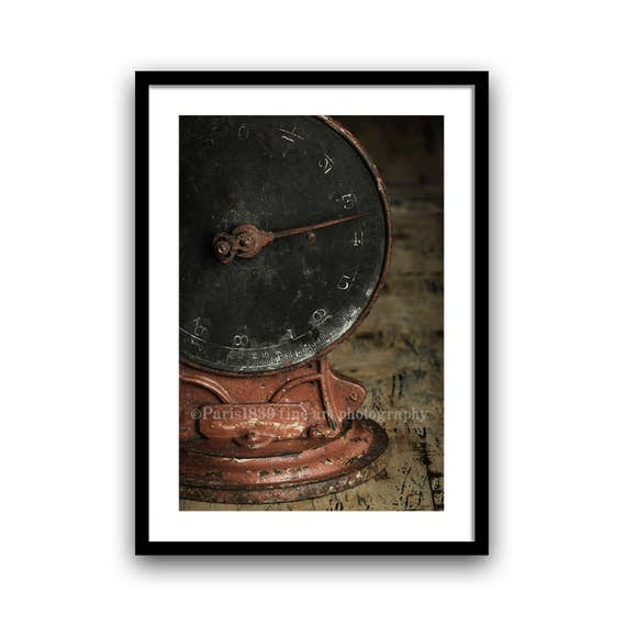 Antique Balance Photo, Rustic Wall Art, Fine Art Photography, Red, Brown, Minimalist, Home Decor