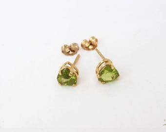 Peridot heart earrings genuine peridot gemstone 14 karat gold for her peridot stud earrings faceted heart studs 14k gold gift for her