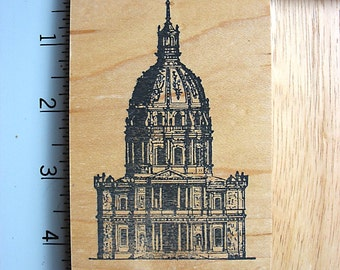 Appalachian Art Stamps Extra RARE Large Medieval Domed Cathedral DESTASH Rubber Stamp, used Rubberstamp, Architecture Rubber Stamp