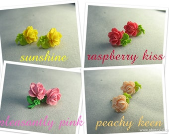 briar rose ... teeny tiny little rose stem stud earrings ... pick your favorite