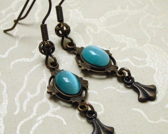 Vintage-Style Blue Cat's Eye Earrings