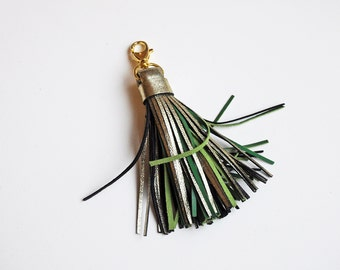 Leather Tassel, Gold and Green tassel keychain