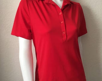 Vintage Women's 70's Red Blouse, Short Sleeve, Polyester, Top by Ko Ko Knits (M)