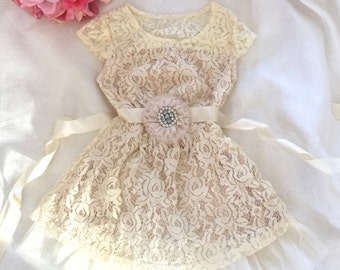 Cream flower girl dress, Ivory Belt -lace baby dress, rustic flower girl dress, country flower girl dress, lace girls dresses.