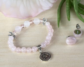 Rose Quartz Yoga, Color 2018, Wings Lovers, Girly Bracelet, Frosted Rose Quartz, Yoga Zen Gemstone, Minimalist Bracelet, Gemstone Color 2018