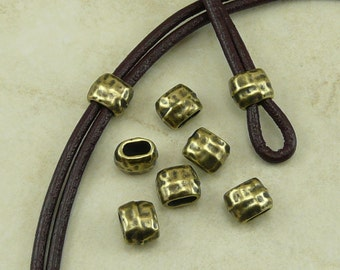 6 TierraCast 4x2mm ID Hammertone Hammered Small Barrel Crimp Spacer Beads * Brass Ox Plated Lead Free Pewter - I ship Internationally NP