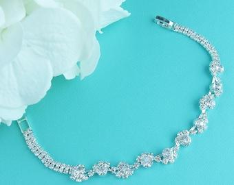 Rhinestone Bridal bracelet, wedding bracelet, rhinestone crystal bracelet, crystal bracelet, bridal jewelry, Angelica Crystal Bracelet