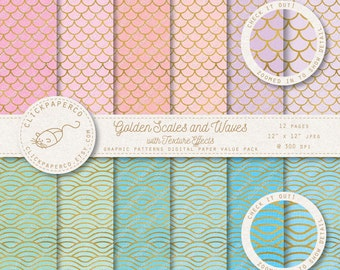 Gold Scales and Waves Mermaid Digital Paper with special texture effects For Scrapbooking Invitations Cards crafts Instant Download jpeg diy