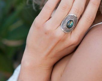Labradorite Ring * Sterling Silver 925 * Statement * Gemstone * Designed Band *Bycila *Jewelry * Handmade *February *March Birthstone BJR049