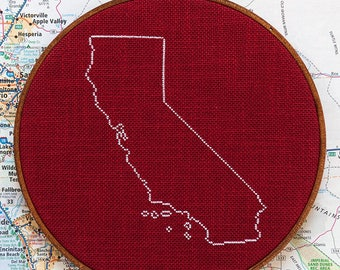 State of California map, CROSS STITCH PATTERN